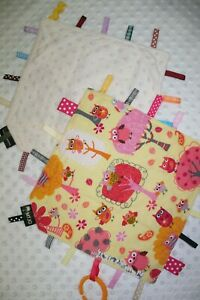 Taggie Blanket, Taggy, security blanket, owls minky backing
