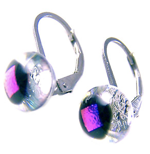 """DICHROIC Glass Earrings PINK Clear Opal Round Lever Surgical Dangle 1/4"""" 8mm"""