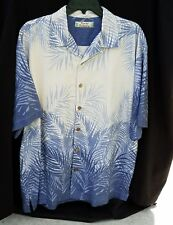 Tommy Bahama Men's Blue/cream Floral Short Sleeve Button Down Shirt Sz-M
