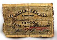 Spain-Guerra Civil. Billete. 5 Pesetas 1936. Banco de España, Santander. Raro