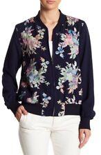Karen Kane Woman's Size M Medium, Blue Floral Embroidered Bomber Jacket $198 NWT