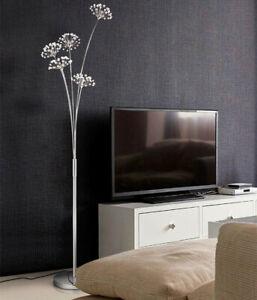 Crystal K9 Dandelion LED Living Room Floor Lamp Chrome Bedroom Landing Light US