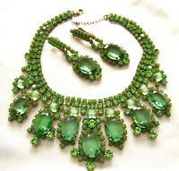 Designer CZECH Opaque Green Peridot Rhinestone Glass Necklace & Earring Set