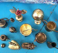Huge Lot Vintage Brass Doll Miniatures Sewing Tea Pots Lamps Kitchen Rare Old