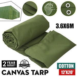 12' x 20' Canvas Tarp 18 oz Extra Heavy Duty Tarpaulin Water Resistant