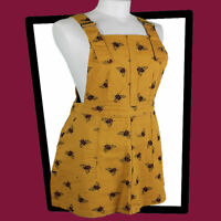 RUN & FLY Beez Kneez Mustard Gold Twill  Bee Print  Pinafore Dungaree DRESS