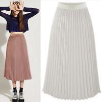 Women Double Layer Chiffon Pleated Retro Long Maxi Skirt Elastic Waist Dress US
