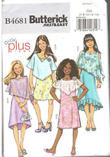 Butterick B4681 Fast & Easy Girls' Plus Sizes Pancho and Dress Sz 7-14 Ship Free