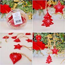 ALBERO di Natale decorazioni in metallo bianco e rosso cuori, stelle e Alberi 9 in (ca. 22.86 cm) totale