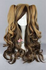 Lolita Brown Mix Lange Curly Fashion Party Cosplay Wig Heat Resistant 2Clips