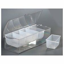 Ice Cooler Chilled Tray Condiment Holder Fresh Dispenser Container Caddy Clear