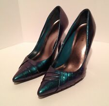 Maurices Women's Green Blue Ombré-ish Shiny Heels Shoes Size 8