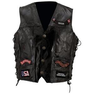 """Diamond Plate™ Rock Design Genuine Buffalo Leather Vest """"L"""""""
