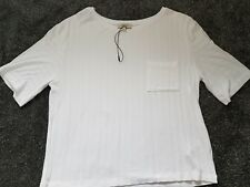 Ladies Girl's White Short Ribbed T-Shirt Size 12 New