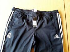 "Real Madrid BNWT Tracksuit Bottoms. 46"" Adidas. Black Adults Football Track."