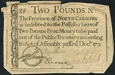 North Carolina 2 Pounds Rare Colonial Currency Note Dec 1771 Bt2764