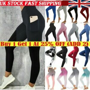 Womens High Waist Gym Leggings Pocket Fitness Sports Running Train Yoga Pants .
