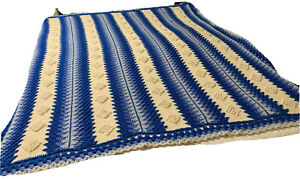 "Vintage Handmade Crochet 3D Diamond Afghan Throw 75"" x 64""  Blue & Ivory Blanket"