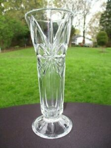 "DEEP CUT STAR PANELS CRYSTAL GLASS FLOWER VASE 7.25"" POSSIBLY GERMAN"