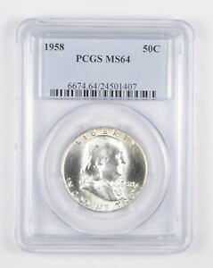1958 MS64 Franklin Half Dollar - 90% SILVER - - PCGS Graded *944