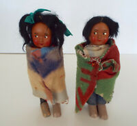 "Early Skookum Boy Girl 6"" Dolls Native American Wood Bodies Celluloid Faces Lot"