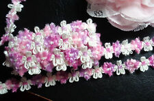 "1/2"" wide Chenille Rococo Floral Trim multi/pink/rose/mauve  selling by the yard"