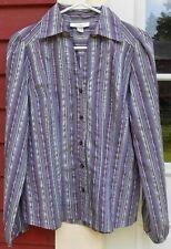 "DRESSBARN Purple Striped Long Sleeved Button Cotton Blend Shirt Size Small (39"")"