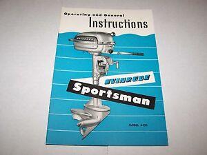 1952 #4425 EVINRUDE SPORTSMAN BOAT MOTOR MANUAL - NOS - NEW OLD STOCK