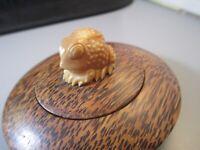 Vintage Carved Wood frog Toad trinket box