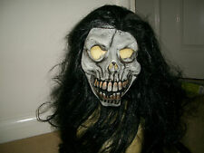 Horror halloween Grey skull with long black hair