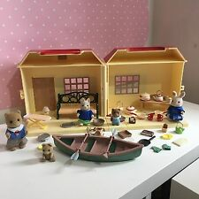 Sylvanian Families Carry Cottage fold out play house Baby kitchen food items