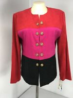 JACKET Leslie Fay Black Pink Colorblack Fitted Crop Tailored Coat Blazer 10P NWT
