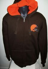 CLEVELAND BROWNS Sherpa Lined Hooded Jacket Full Zip Hoody Sewn Logos S, M, XL