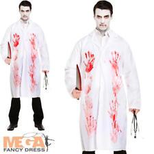 Adult Mens Bloody Doctors Coat Scientist Halloween Zombie Fancy Dress Costume
