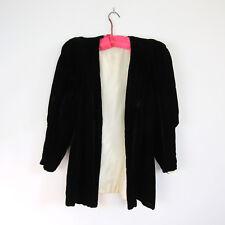 1930s SILK VELVET JACKET Black Art Deco Coat Cloak Satin Antique Vintage 30s 40s