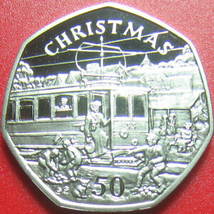 ISLE OF MAN 1989 BB 50 PENCE PROOF CHRISTMAS TROLLEY CAR CAT RARE!!! (no silver)