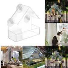 Clear House Window Bird Feeder Birdhouse With Suction Outdoor Garden Feeding New