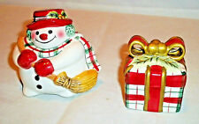 Fitz and Floyd Ff Plaid Christmas Salt & Pepper Shakers Snawman Wrapped Gift