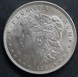 "1921 United States ""Morgan Dollar"" Silver ( .90 ) $1 coin KM110 aEF"