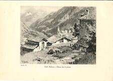 Stampa antica montagna CHIESA VAL MALENCO Valtellina Sondrio 1934 Old Print