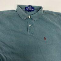 Vintage Ralph Lauren Polo Shirt Men's Medium Short Sleeve Green-Gray Cotton