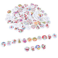50x Random Mixed Christmas Pattern Wooden decorative Buttons For Sewing Decor NT