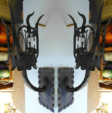 PAIR 1920S STYLE OUTDOOR EXTERIOR WROUGHT IRON SPANISH REVIVAL WALL SCONCE LAMP