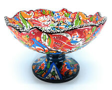 Handmade Turkish Traditional Ceramic Pottery Footed Candy Dish or Server (C)