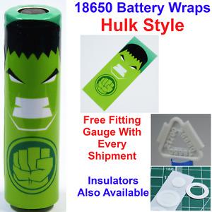 6 X Hulk Styled 18650 Battery Wraps - Heat Shrink PVC Sleeves