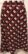 DIANE VON FURSTENBERG DVF Women's Pencil Flare Geometric Cube Skirt Red Sz 00