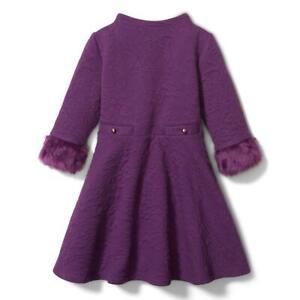 JANIE and JACK Girl Grape Lollipop Jacquard Faux Fur Cuff Dress NWT - Size 3