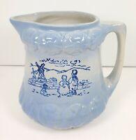 """Blue Salt Glazed Stoneware Pitcher Dutch Children Windmill 7"""" H Antique c1800's"""