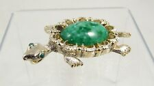 Gerry's Green Turtle Pin Brooch Pendant Speckled Art Glass