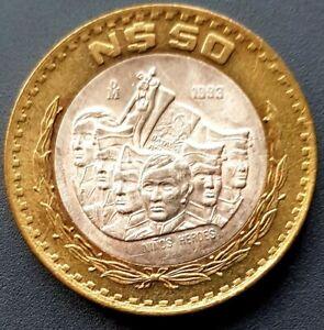 1993 MEXICO 50 Nuevos Pesos BIMETALLIC Niños Héroes VERY NICE!